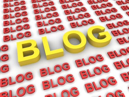 BLOG - big yellow word in midst of red words