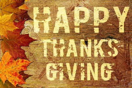 HAPPY THANKS GIVING (wood with orange leaves)