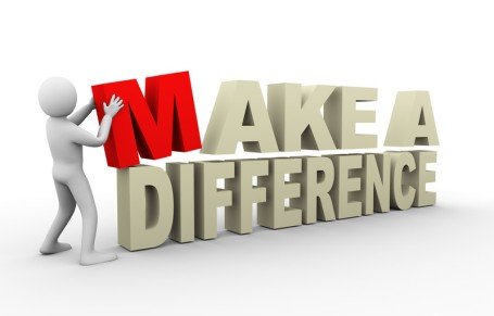 MAKE A DIFFERENCE man building sign (red-white)