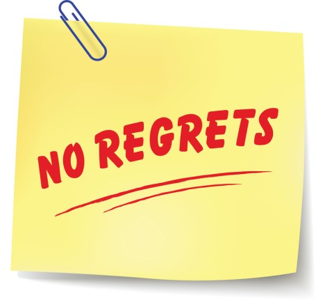 NO REGRETS yellow post-it