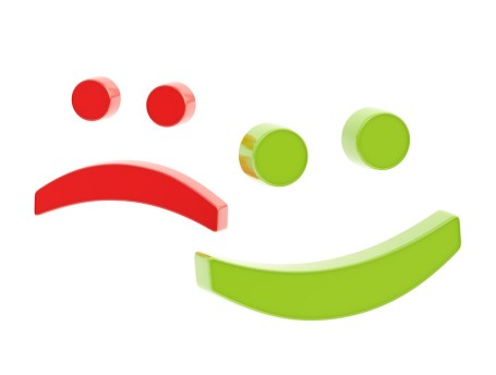 SAD FACE - HAPPY FACE (red-green)